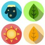 Απεικόνιση συμβόλων εικονιδίων τεσσάρων εποχών Πρόγνωση καιρού διανυσματική απεικόνιση
