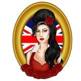 Απεικόνιση - συρμένο χέρι πορτρέτο του τραγουδιστή Amy Winehouse διανυσματική απεικόνιση