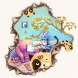 Απεικόνιση: Σχέδιο τυπωμένων υλών φλυτζανιών: Λίγη γάτα γρατσουνίζει την κάρτα σας! Θέλετε να γράψετε στο φίλο στο γλυκό σπίτι, ά Στοκ Εικόνες