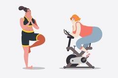 Απεικόνιση σχεδίου χαρακτήρα κινουμένων σχεδίων Δύο γυναίκες workout Στοκ Εικόνα