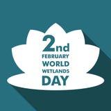 Απεικόνιση σχεδίου κινούμενων σχεδίων ημέρας παγκόσμιων υγρότοπων, προτέρημα εκστρατείας για τη χρήση στα κοινωνικά μέσα Στοκ εικόνες με δικαίωμα ελεύθερης χρήσης
