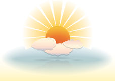 απεικόνιση σύννεφων ηλιόλουστη διανυσματική απεικόνιση