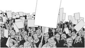 Απεικόνιση τέχνης γραμμών της διαμαρτυρίας πλήθους με τα κενά σημάδια και τα εμβλήματα Στοκ φωτογραφίες με δικαίωμα ελεύθερης χρήσης