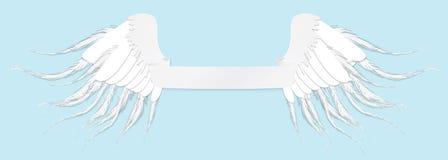 Απεικόνιση τέχνης γραμμών των φτερών και της ταινίας αγγέλου Εκλεκτής ποιότητας διανυσματικά FO Στοκ εικόνες με δικαίωμα ελεύθερης χρήσης