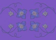 Απεικόνιση, τέχνη, σχέδιο, σχέδιο, σχέδιο, γεωμετρικός, γραμμικό, διακόσμηση, floral, stylization, μπλε, λουλούδια, μοντέρνος, ιώ διανυσματική απεικόνιση