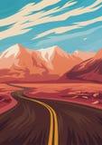 Απεικόνιση ταξιδιού με το δρόμο στα βουνά διανυσματική απεικόνιση