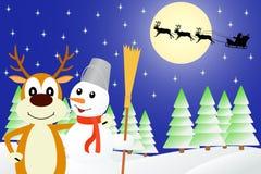 Απεικόνιση τα ελάφια και ο χιονάνθρωπος Στοκ Φωτογραφία