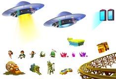 Απεικόνιση: Τα στοιχεία επιστημονικής φαντασίας θέτουν 5 UFO, λίγος ήρωας, πύλη, ορυχείο, συστάδα πολύτιμων λίθων κ.λπ. Στοκ φωτογραφία με δικαίωμα ελεύθερης χρήσης