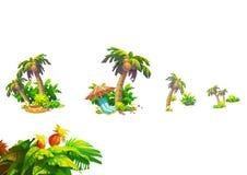 Απεικόνιση: Τα φανταστικά τροπικά στοιχεία παραλιών θέτουν 3 Καρύδα, λουλούδι, ομάδα εγκαταστάσεων κ.λπ. Στοκ εικόνα με δικαίωμα ελεύθερης χρήσης