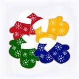Απεικόνιση τεσσάρων ζευγαριών των γαντιών φιαγμένων από μπισκότα Στοκ εικόνα με δικαίωμα ελεύθερης χρήσης