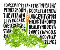 Απεικόνιση της έννοιας ενός υγιούς τρόπου ζωής Καρότα με halms, που απογειώνονται όπως έναν πύραυλο με να γράψει περίπου Στοκ εικόνα με δικαίωμα ελεύθερης χρήσης