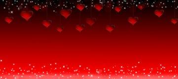 Απεικόνιση της ένωσης των κόκκινων καρδιών για την ημέρα ενός βαλεντίνου σε ένα κόκκινο υπόβαθρο Στοκ Εικόνες