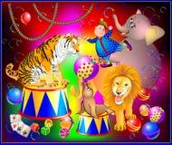 Απεικόνιση της απόδοσης τσίρκων φαντασίας με τα ζώα και τον εύθυμο κλόουν για τη ζωηρόχρωμη αφίσα Στοκ Εικόνες