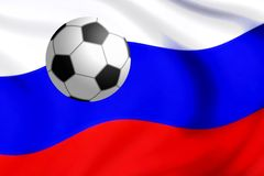 Απεικόνιση της ασημένιας σφαίρας ποδοσφαίρου με τη σημαία της Ρωσίας Στοκ εικόνα με δικαίωμα ελεύθερης χρήσης