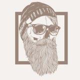 Απεικόνιση της γενειάδας κρανίων hipster Στοκ εικόνα με δικαίωμα ελεύθερης χρήσης