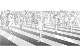 Απεικόνιση της γυναίκας στο φόρεμα που διασχίζει το δρόμο με το πλήθος πόλεων Στοκ Εικόνες