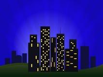 Απεικόνιση της εικονικής παράστασης πόλης νύχτας Στοκ Φωτογραφίες