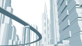 Απεικόνιση της εικονικής παράστασης πόλης. Στοκ εικόνα με δικαίωμα ελεύθερης χρήσης