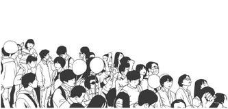 Απεικόνιση της ειρηνικής ασιατικής διαμαρτυρίας πλήθους με τα παιδιά και τα κενά μπαλόνια Στοκ εικόνα με δικαίωμα ελεύθερης χρήσης