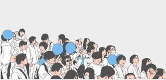 Απεικόνιση της ειρηνικής ασιατικής διαμαρτυρίας πλήθους με τα παιδιά και τα κενά μπαλόνια Στοκ Εικόνες