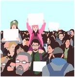 Απεικόνιση της ειρηνικής διαμαρτυρίας πλήθους με τα παιδιά και τους ηλικιωμένους με τα κενά σημάδια Στοκ Εικόνα