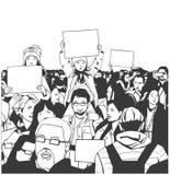 Απεικόνιση της ειρηνικής διαμαρτυρίας πλήθους με τα παιδιά και τους ηλικιωμένους με τα κενά σημάδια Στοκ εικόνα με δικαίωμα ελεύθερης χρήσης