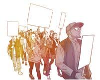 Απεικόνιση της επίδειξης σπουδαστών με τα κενά σημάδια Στοκ Εικόνες