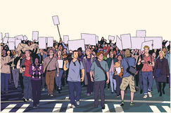 Απεικόνιση της επίδειξης του πλήθους τον ειρηνικό Μάρτιο Στοκ Εικόνες
