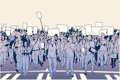 Απεικόνιση της επίδειξης του πλήθους τον ειρηνικό Μάρτιο Στοκ Εικόνα