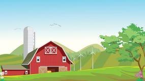 Απεικόνιση της επαρχίας βουνών με την κόκκινη αγροτική σιταποθήκη Στοκ εικόνα με δικαίωμα ελεύθερης χρήσης