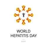 Απεικόνιση της ημέρας παγκόσμιας ηπατίτιδας στο άσπρο υπόβαθρο Στοκ φωτογραφία με δικαίωμα ελεύθερης χρήσης