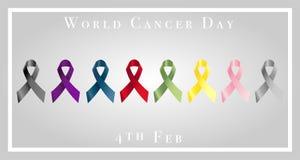 Απεικόνιση της ημέρας παγκόσμιου καρκίνου με τις κορδέλλες Στοκ Εικόνες