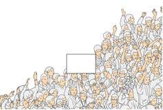Απεικόνιση της διαμαρτυρίας πλήθους με το κενό σημάδι από την υψηλή άποψη γωνίας Στοκ Εικόνες