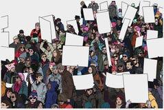 Απεικόνιση της διαμαρτυρίας του πλήθους με τα αυξημένα χέρια και τα κενά σημάδια στο χρώμα Στοκ εικόνα με δικαίωμα ελεύθερης χρήσης