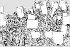 Απεικόνιση της διαμαρτυρίας του πλήθους με τα αυξημένα χέρια και τα κενά σημάδια Στοκ Εικόνα