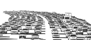 Απεικόνιση της κυκλοφοριακής συμφόρησης ώρας κυκλοφοριακής αιχμής στον αυτοκινητόδρομο Στοκ Εικόνα