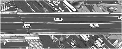 Απεικόνιση της κυκλοφορίας ώρας κυκλοφοριακής αιχμής από την υψηλή άποψη γωνίας στην γκρίζα κλίμακα Στοκ φωτογραφία με δικαίωμα ελεύθερης χρήσης