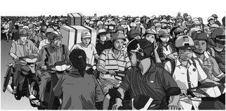 Απεικόνιση της κυκλοφοριακής συμφόρησης στη Νοτιοανατολική Ασία στο χρώμα Στοκ Εικόνες