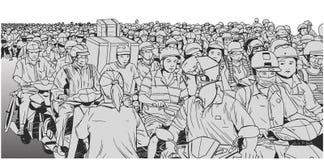 Απεικόνιση της κυκλοφοριακής συμφόρησης στη Νοτιοανατολική Ασία στο χρώμα Στοκ Φωτογραφίες