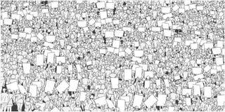 Απεικόνιση της μεγάλης διαμαρτυρίας πλήθους με τα κενά σημάδια και το έμβλημα σε γραπτό Στοκ Εικόνες