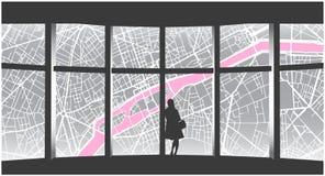 Απεικόνιση της μόνης γυναίκας που εξετάζει τη εικονική παράσταση πόλης από το παράθυρο πολυόροφων κτιρίων Στοκ φωτογραφία με δικαίωμα ελεύθερης χρήσης