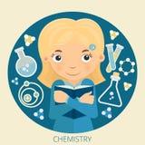 Απεικόνιση της νέας χημείας μαθητριών Στοκ εικόνα με δικαίωμα ελεύθερης χρήσης