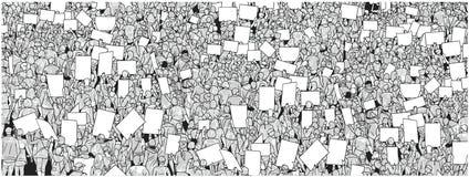 Απεικόνιση της ογκώδους διαμαρτυρίας πλήθους με τα κενά σημάδια Στοκ Φωτογραφίες