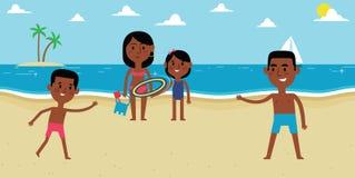 Απεικόνιση της οικογένειας που απολαμβάνει τις διακοπές παραλιών από κοινού Στοκ φωτογραφία με δικαίωμα ελεύθερης χρήσης