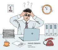 Απεικόνιση της πίεσης στην εργασία Ο νέος επιχειρηματίας κρατά το κεφάλι του εξετάζοντας το όργανο ελέγχου στάση τρίχας στο τέλος απεικόνιση αποθεμάτων