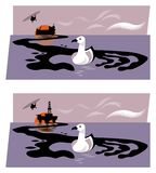Απεικόνιση της πλατφόρμας άντλησης πετρελαίου ή του βυθίζοντας πετρελαιοφόρου που απελευθερώνει το πετρέλαιο στη θάλασσα, που δια απεικόνιση αποθεμάτων