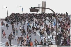 Απεικόνιση της συσσωρευμένης οδού πόλεων που διασχίζει από την υψηλή άποψη γωνίας στο χρώμα Στοκ Εικόνα