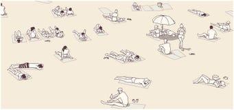 Απεικόνιση της συσσωρευμένης παραλίας με τους ανθρώπους που χαλαρώνουν και που κάνουν ηλιοθεραπεία Στοκ Εικόνες