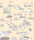 Απεικόνιση της συσσωρευμένης παραλίας με τους ανθρώπους που χαλαρώνουν και που κάνουν ηλιοθεραπεία Στοκ εικόνες με δικαίωμα ελεύθερης χρήσης