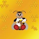 Απεικόνιση της χαριτωμένης μέλισσας που τρώει το μέλι, διάνυσμα Στοκ Εικόνα